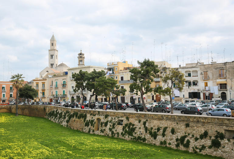 BARI, ITALY - MARCH 16, 2015: View on the center of Bari, Italy, with the tower of Bari Cathedral